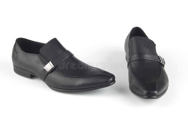 黑颜色皮革凉鞋 库存照片