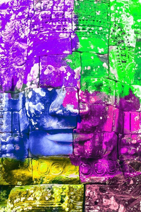 颜色石面孔 免版税库存照片