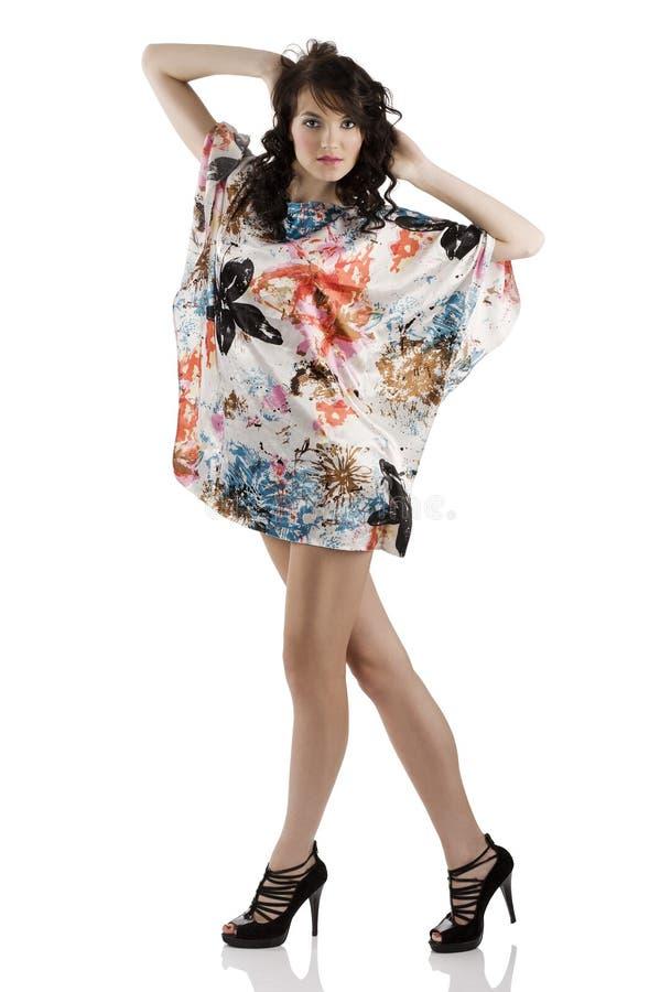 颜色礼服方式女孩 免版税图库摄影