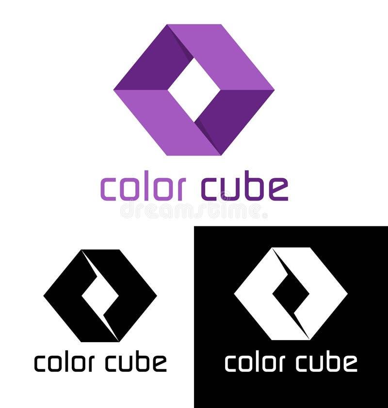 颜色立方体商标模板 向量例证