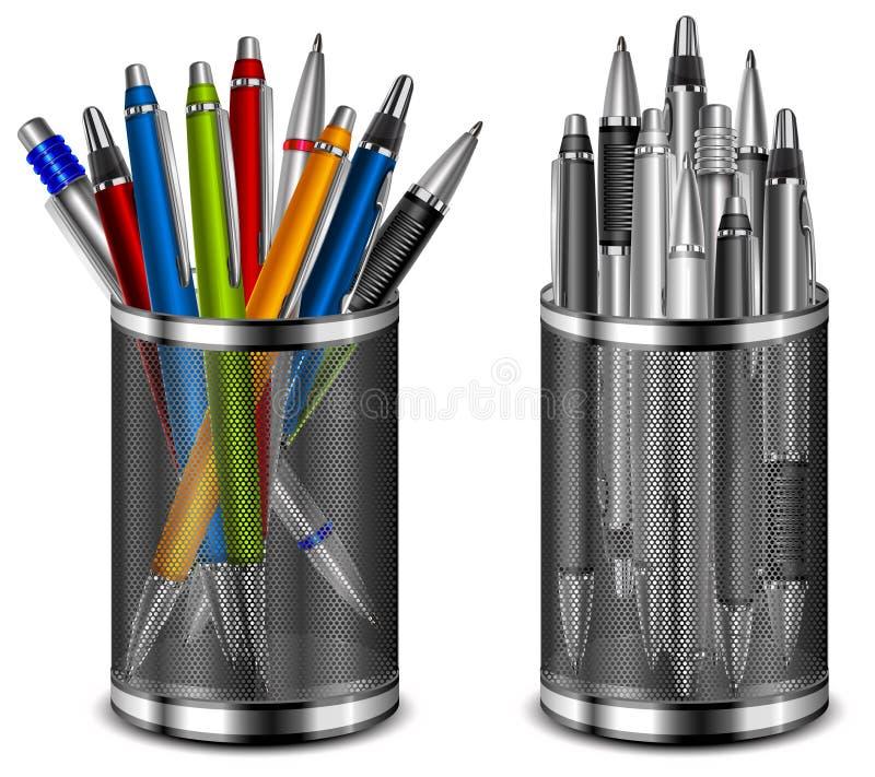 颜色笔被设置的技术支持 向量例证