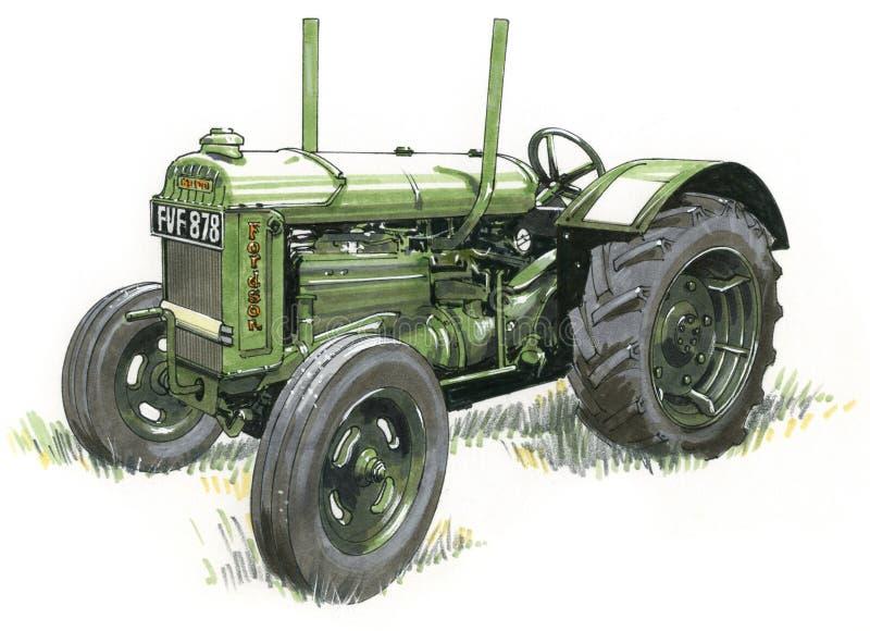 颜色老拖拉机 向量例证