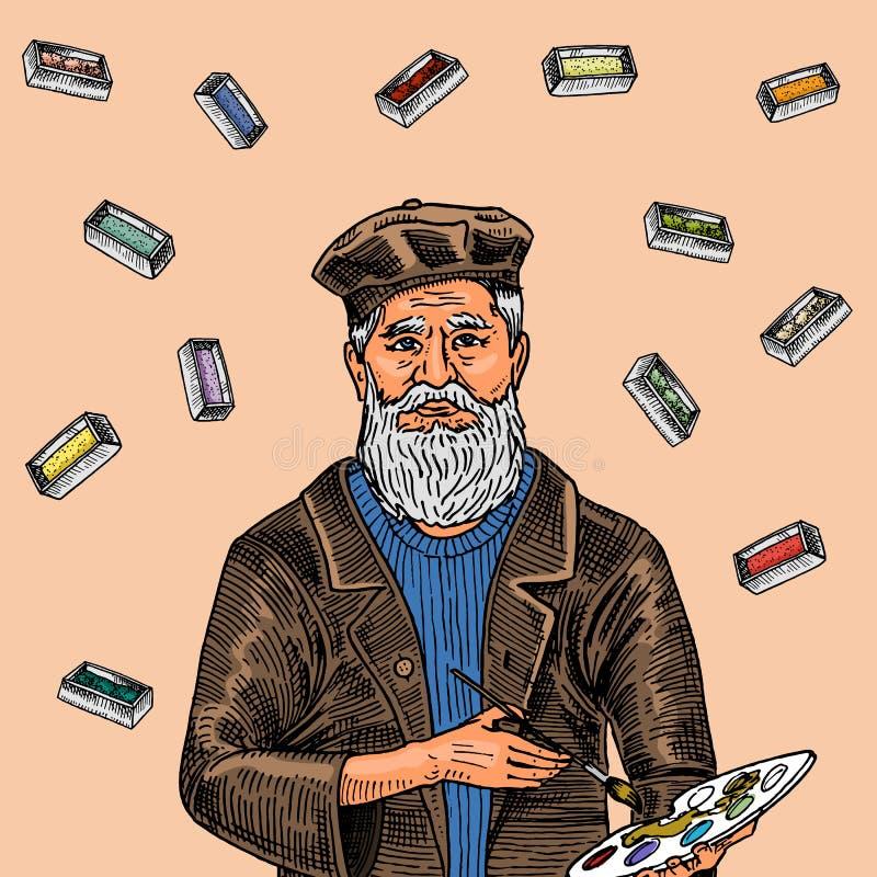 颜色背景的有胡子的创造性的人与油漆 一个帽子的艺术家海报或横幅的 用手画在 库存例证