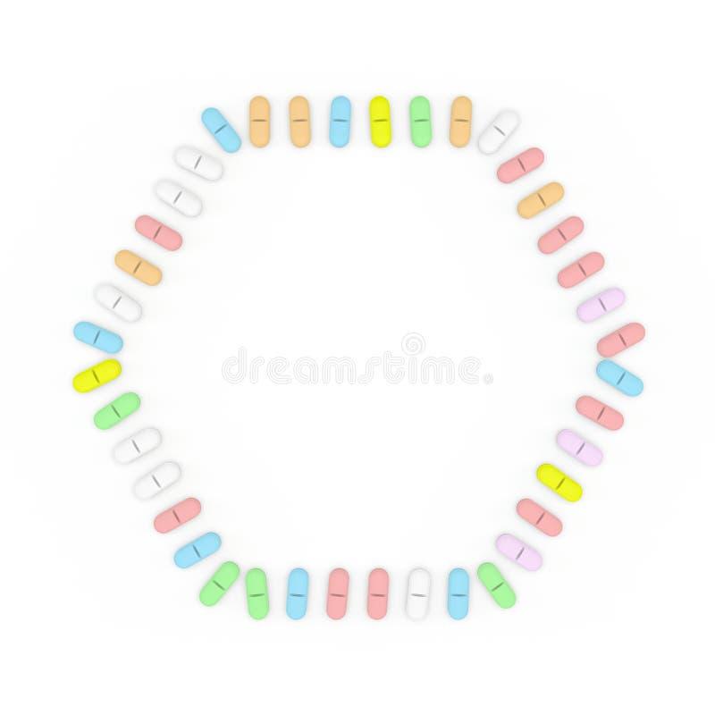 颜色药片框架 背景查出的白色 六角形 库存例证