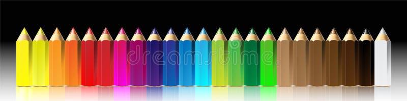 颜色蜡笔例证铅笔向量 库存例证
