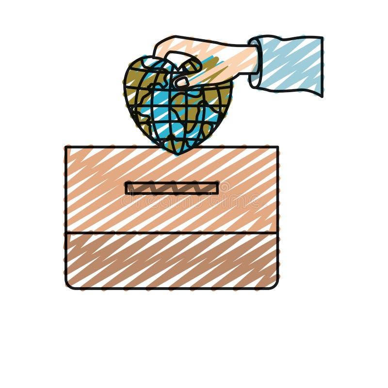 颜色蜡笔剪影有平的地球地球世界的正面图手在放置在纸盒箱子的心形 皇族释放例证