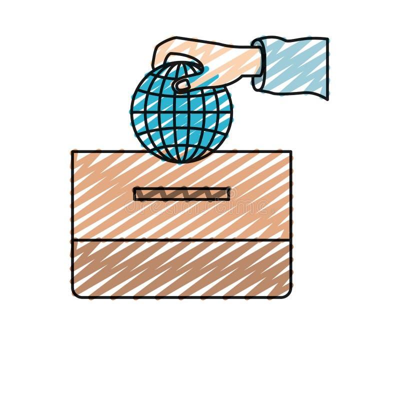 颜色蜡笔剪影有放置在纸盒箱子的平的地球地球世界图的正面图手 库存例证