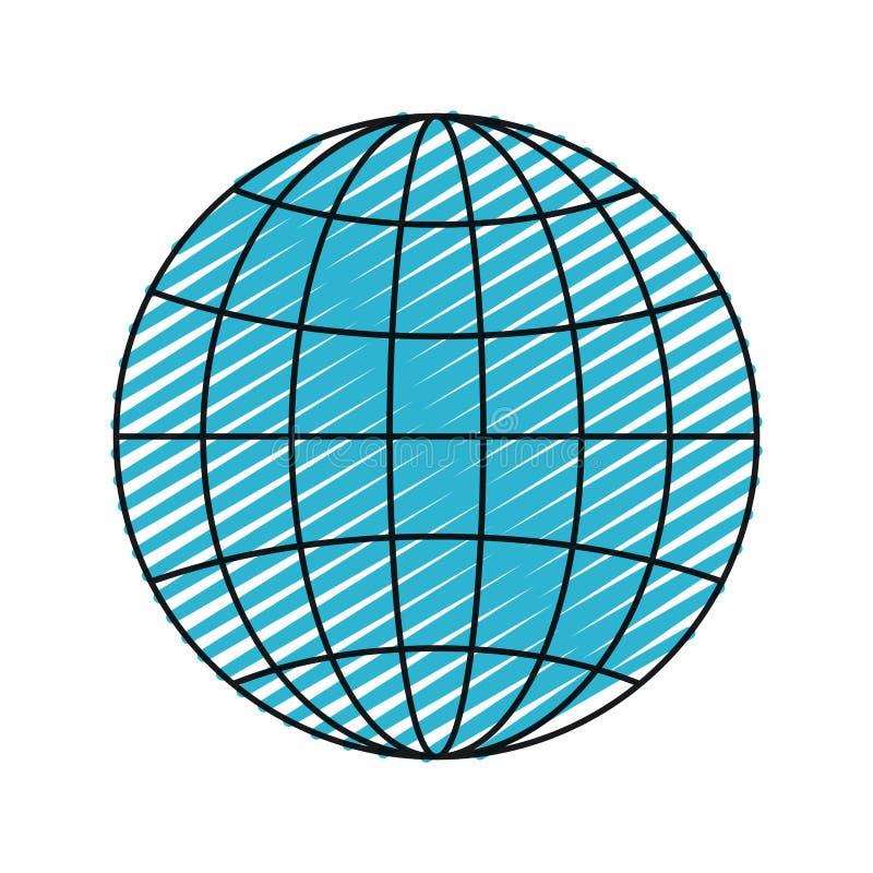 颜色蜡笔剪影正面图地球地球与线的世界图 皇族释放例证