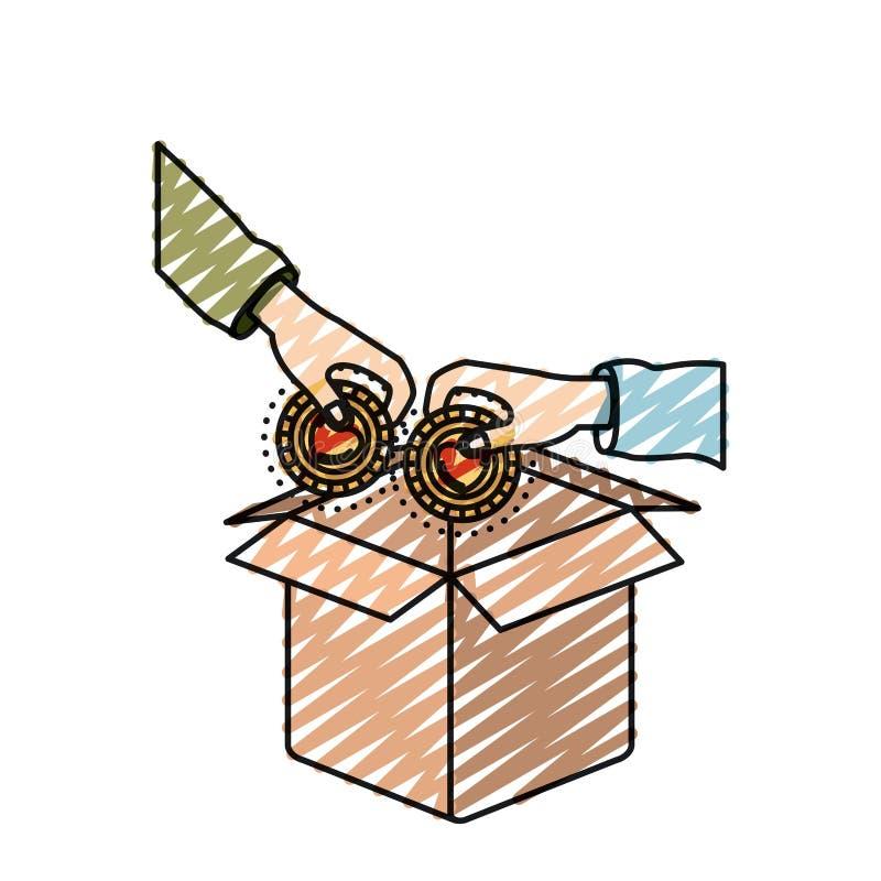 颜色蜡笔剪影的手拿着与放置的里面心形的硬币在纸板箱 皇族释放例证
