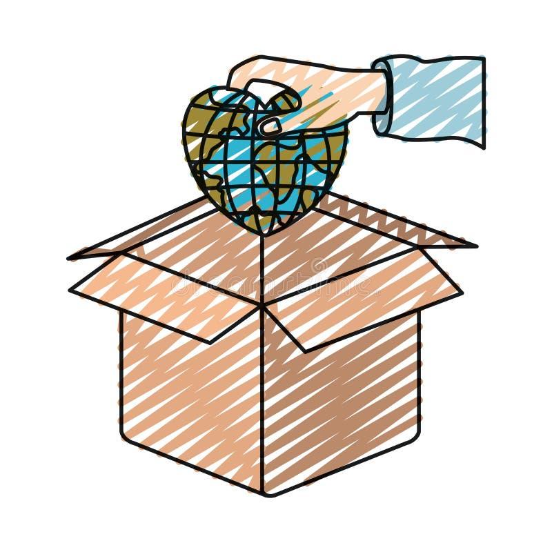 颜色蜡笔拿着在心形的剪影手地球地球世界放置在纸板箱 向量例证