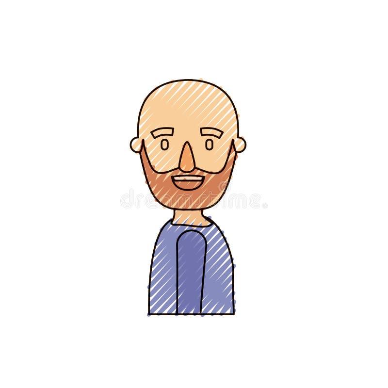 颜色蜡笔条纹讽刺画侧视图秃头人有胡子与T恤杉 皇族释放例证