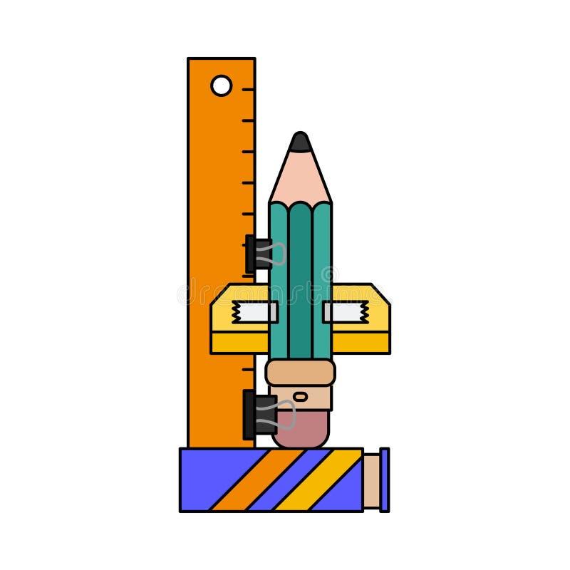 颜色邀请明信片,礼物标记 学校笔记本板料,铅笔 想象力,办公用品太空火箭 向量例证