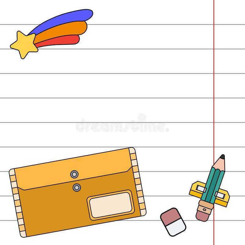 颜色邀请明信片,礼物标记 学校笔记本板料,铅笔 想象力,办公用品太空火箭 库存例证