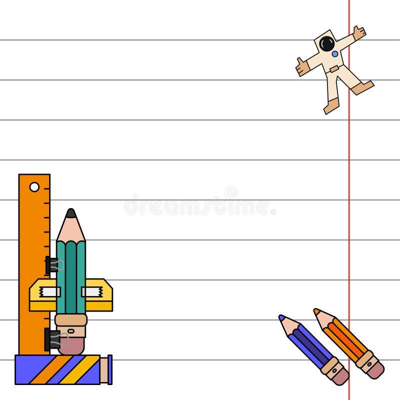 颜色邀请明信片,礼物标记 学校笔记本板料,铅笔 想象力,办公用品太空火箭 皇族释放例证