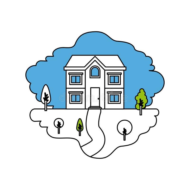 颜色部分现出轮廓两个地板自然风景和门面房子场面  库存例证