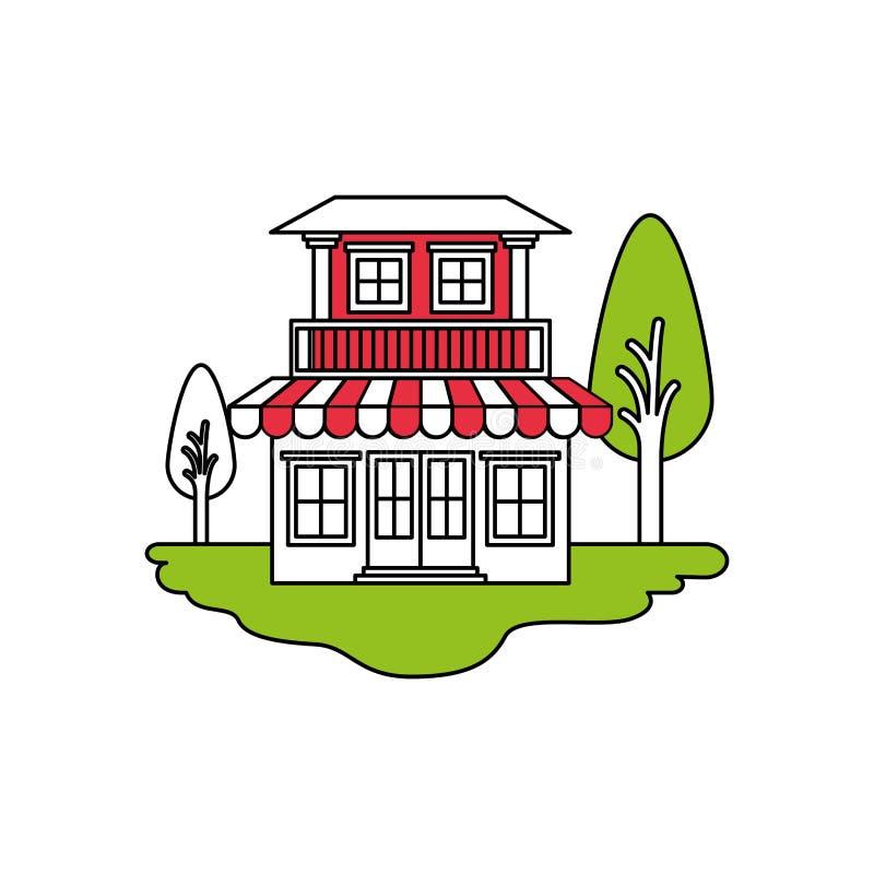 颜色部分现出轮廓室外风景和房子场面有两个地板的与阳台和遮篷 向量例证