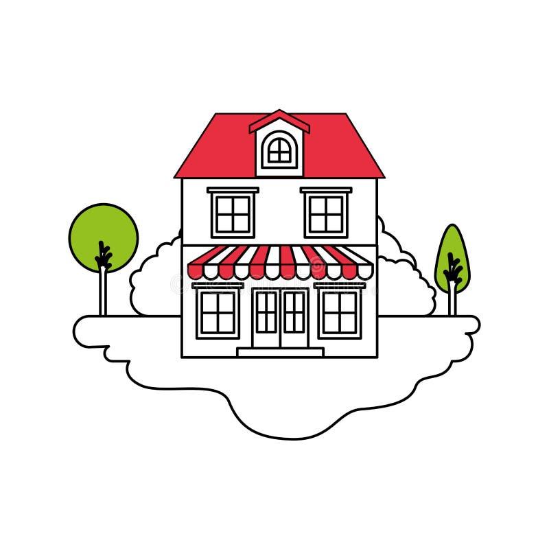 颜色部分现出轮廓室外风景和房子场面有两个地板的与顶楼和遮篷 向量例证