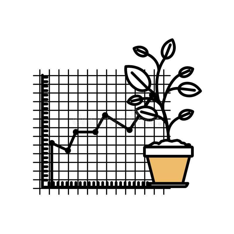 颜色部分现出轮廓生长和金融风险图表 库存例证