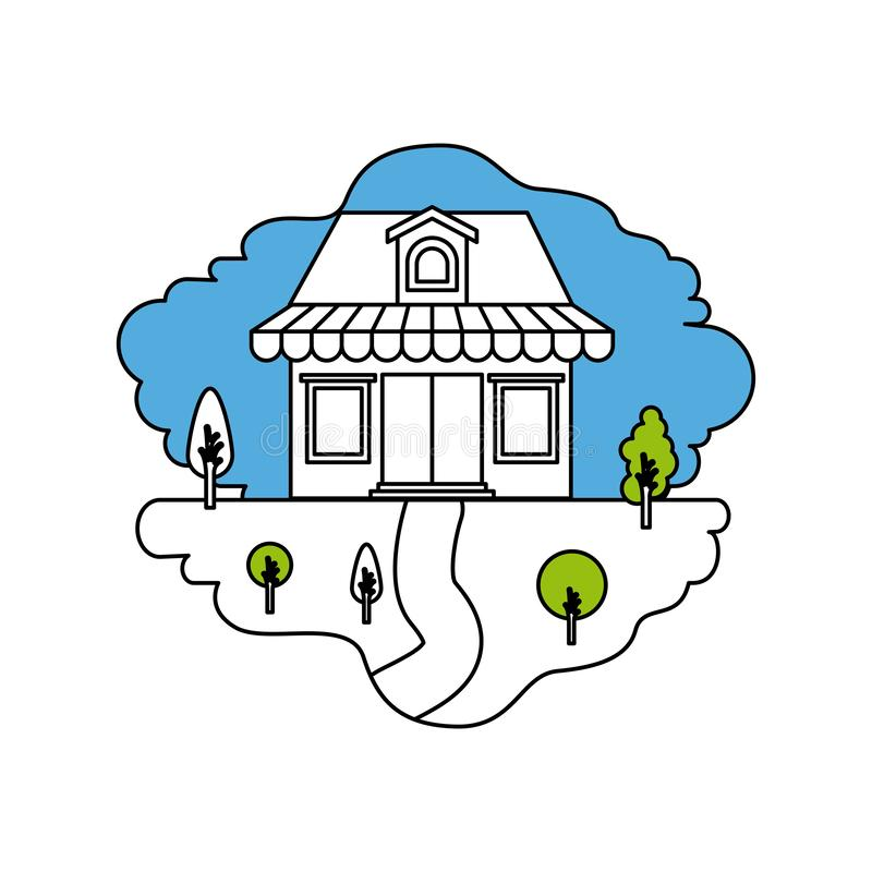 颜色部分现出轮廓自然风景和商店场面有遮篷和顶楼的 库存例证