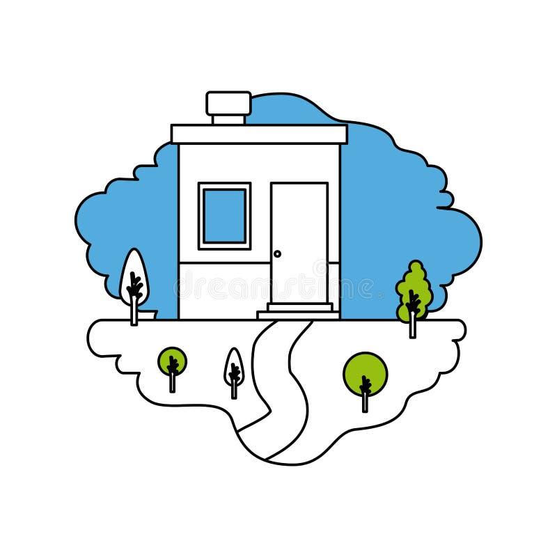 颜色部分现出轮廓自然风景和小屋场面有烟囱的 向量例证