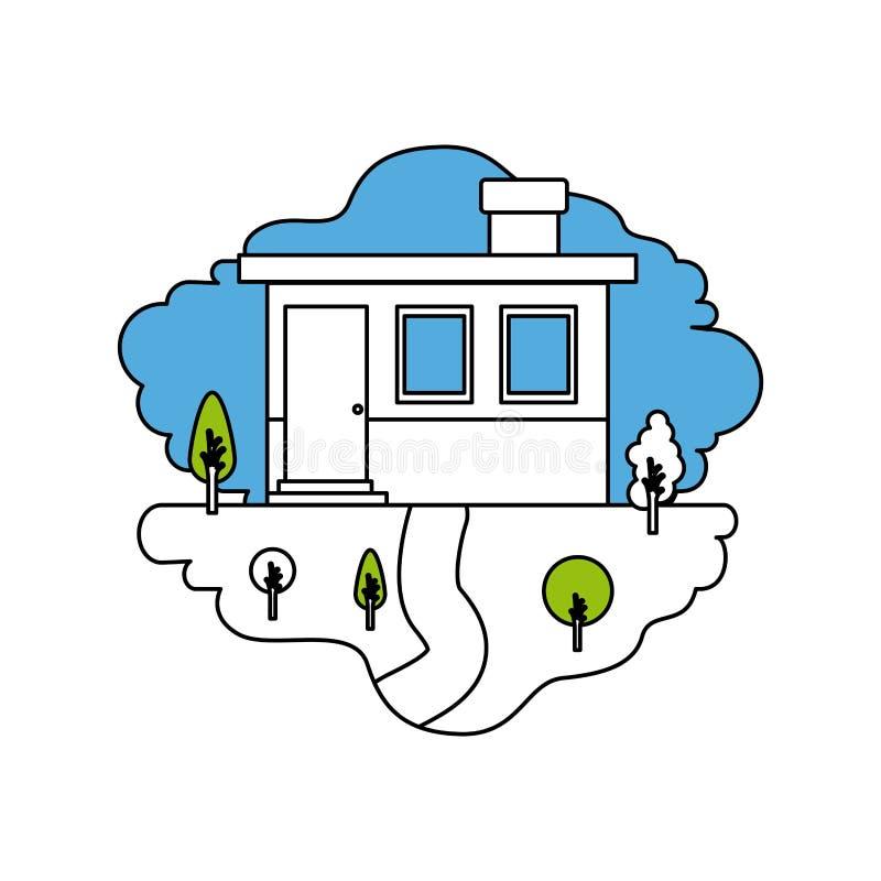 颜色部分现出轮廓自然风景和小屋门面场面与烟囱的 向量例证