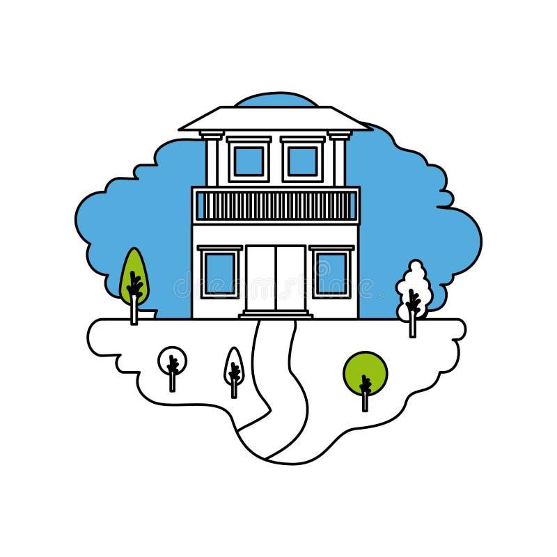 颜色部分现出轮廓自然风景和房子场面有两个地板和阳台的 库存例证