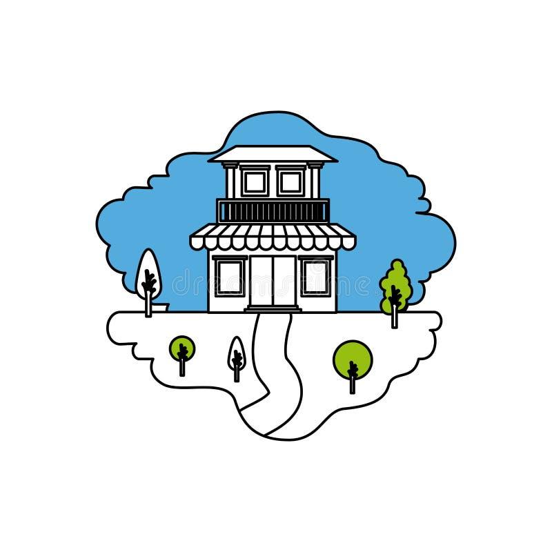 颜色部分现出轮廓自然风景和房子场面有两个地板的与阳台和遮篷 向量例证