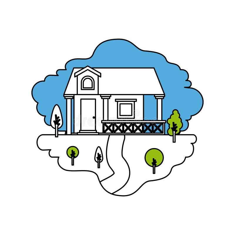 颜色部分现出轮廓自然风景和门面房子场面有栏杆和顶楼的 向量例证
