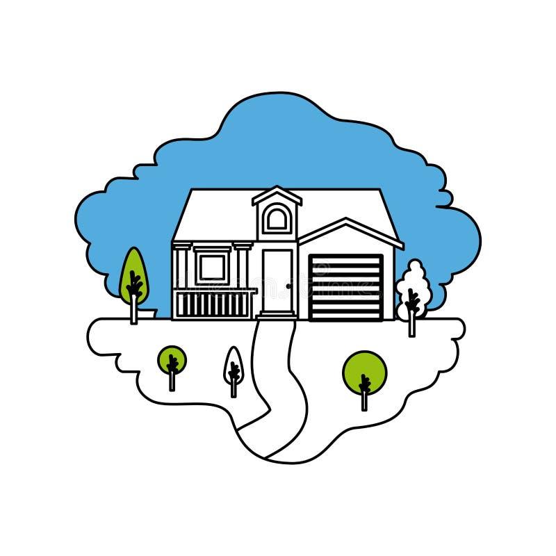 颜色部分现出轮廓自然风景和门面房子场面有车库和顶楼的 库存例证