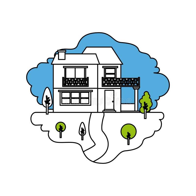 颜色部分现出轮廓自然风景场面和两个地板和阳台乡间别墅  向量例证