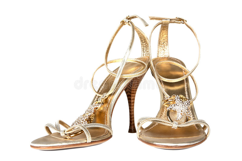 颜色金鞋子 图库摄影
