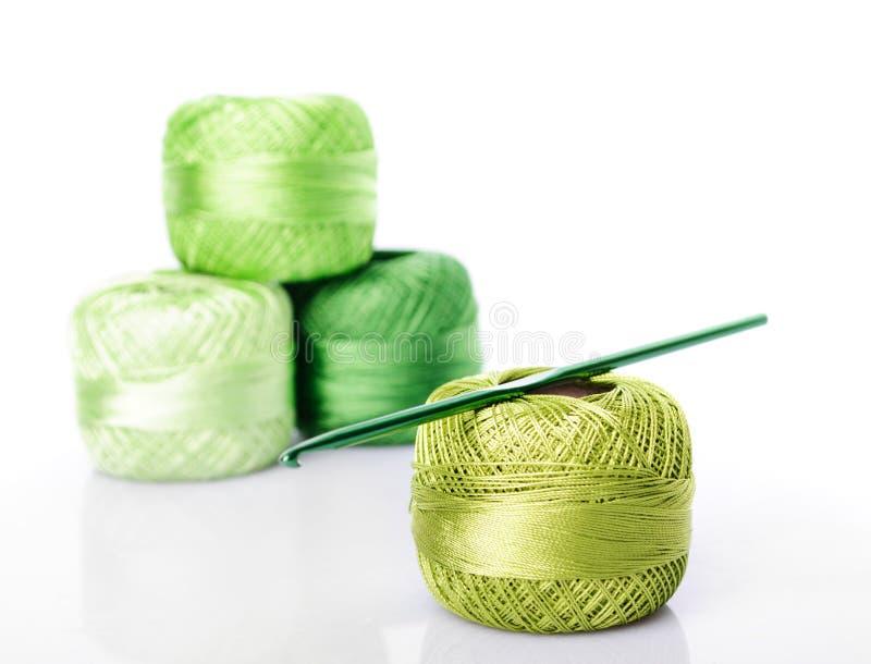 颜色钩针编织线程数 库存图片