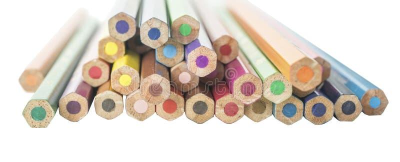颜色铅笔从后面 图库摄影
