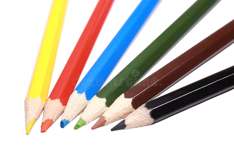 颜色铅笔六 免版税库存照片