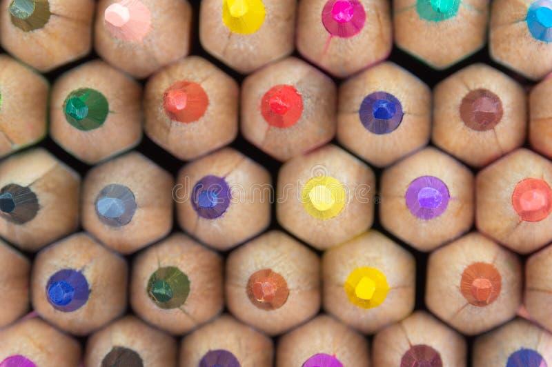 颜色铅笔包:蓝色,红色,黄色 库存图片