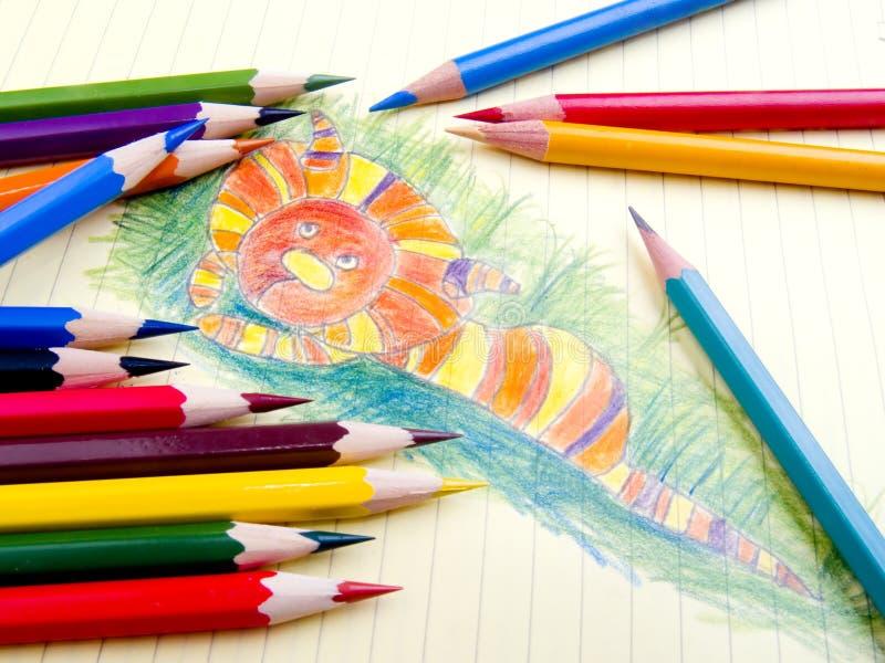 颜色铅笔和草图 免版税库存图片