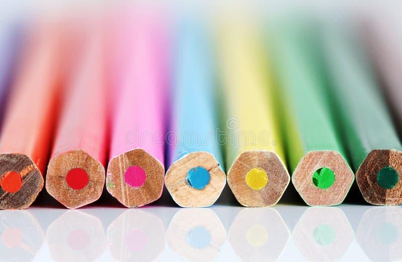 颜色铅笔末端 免版税库存图片