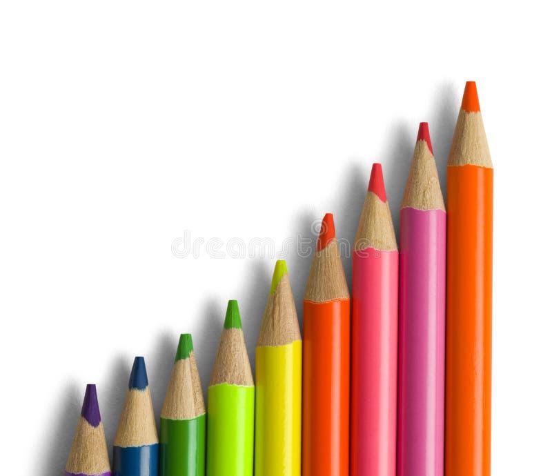 颜色铅笔标度 免版税库存图片