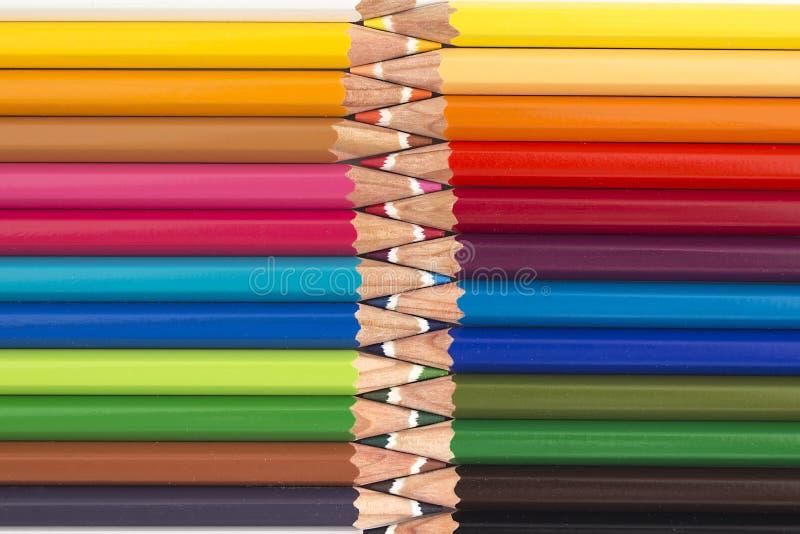 从颜色铅笔的抽象背景 免版税库存图片