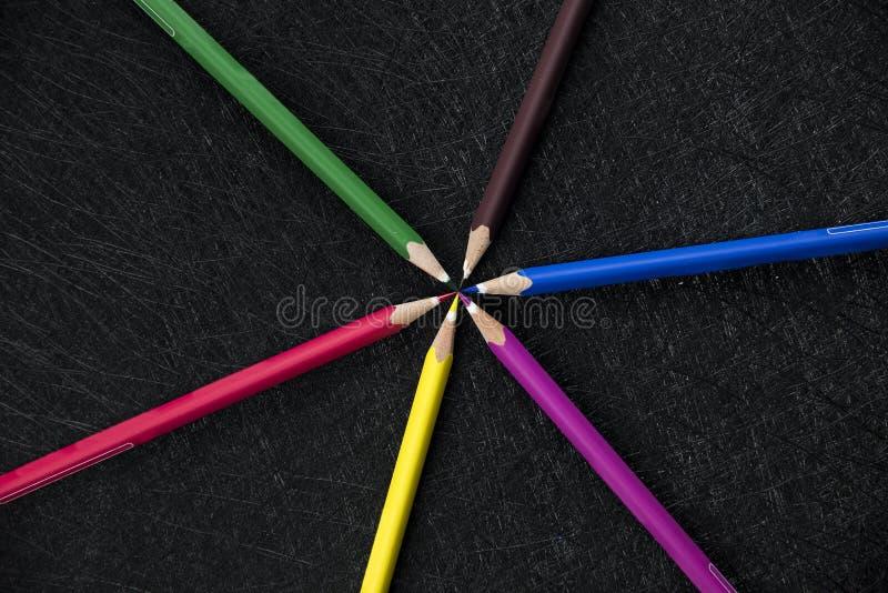 颜色铅笔盘旋 库存图片