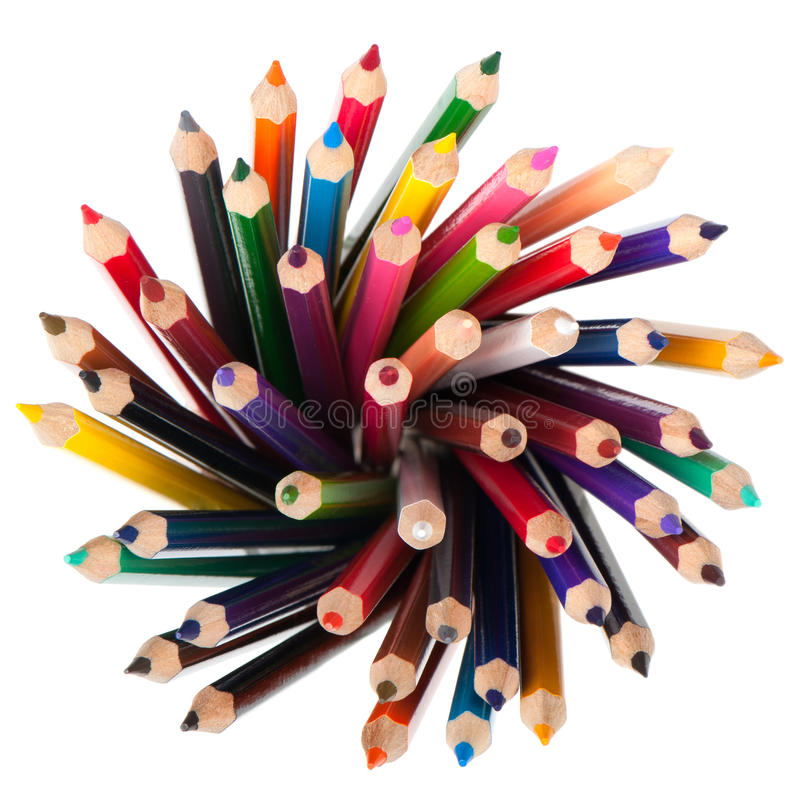 颜色铅笔集 免版税库存图片
