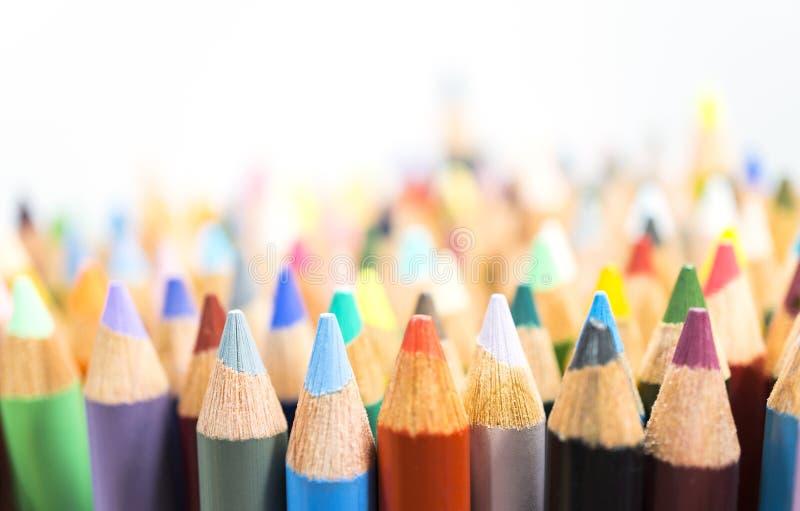 颜色铅笔,关闭 库存图片