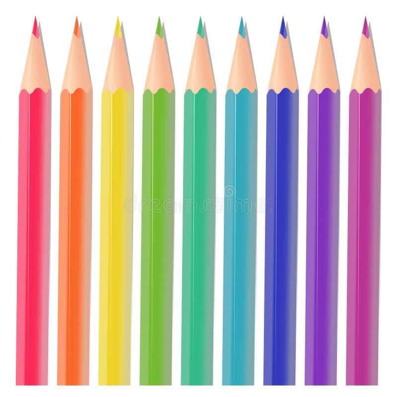 颜色铅笔 皇族释放例证