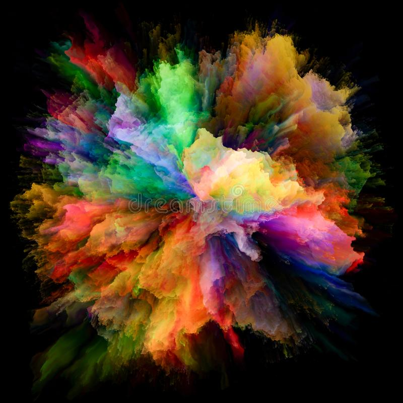 颜色飞溅爆炸共同作用  库存例证