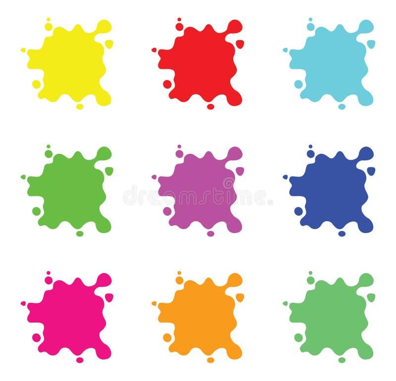 颜色飞溅集合 向量例证