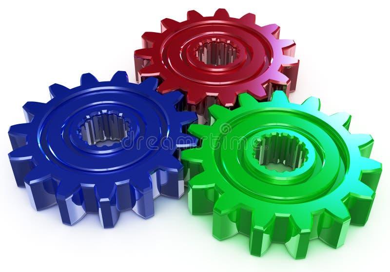 颜色齿轮三 库存例证