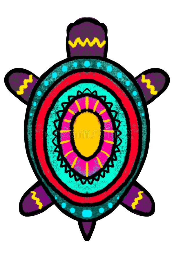 颜色,与装饰品-例证的风格化乌龟 皇族释放例证