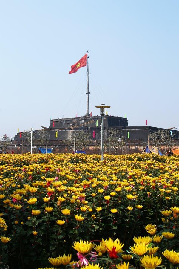 颜色,越南- 2018年2月10日:颜色北京皇城 在城堡的看法有越南旗子和菊花黄色花的  免版税库存图片