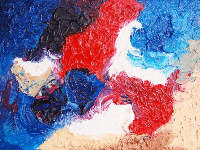 颜色绘画 在画布的油 免版税库存图片