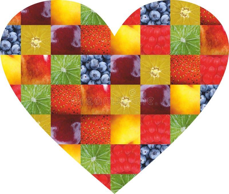 颜色水果和蔬菜 新鲜的食物 概念 拼贴画 免版税库存图片